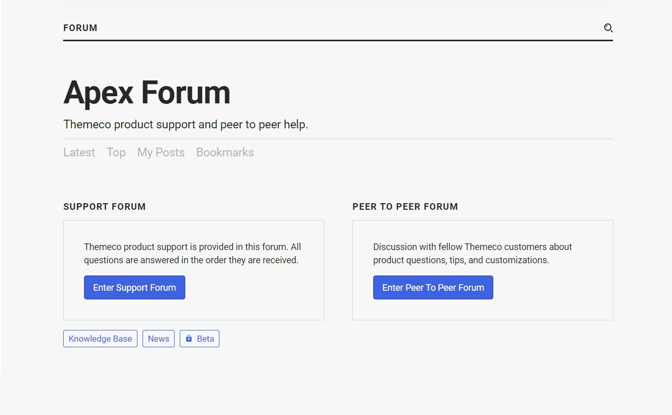 Themeco Apex Support Forum